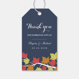 Navy Blue Maple Leaf Autumn Wedding Gift Tag