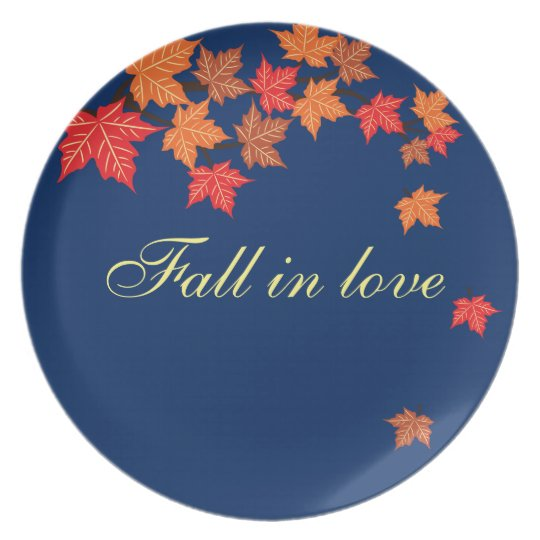 Navy Blue Maple Leaf Falling Personalised Plate