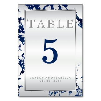 Navy Blue Marble, Silver & White - Table Card