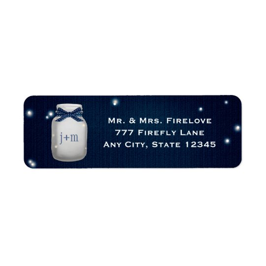 Navy Blue Mason Jar with Fireflies Return Address Return Address Label