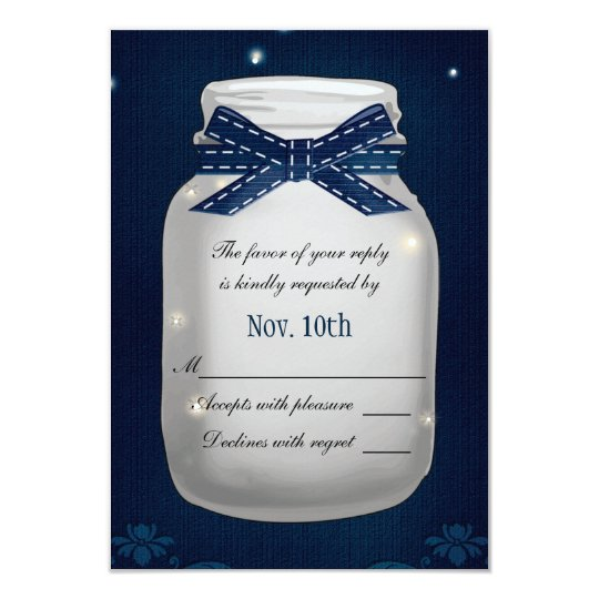 Navy Blue Mason Jar with Fireflies RSVP Card