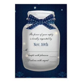 Navy Blue Mason Jar with Fireflies RSVP Card 9 Cm X 13 Cm Invitation Card