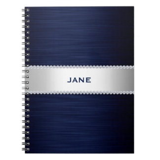 navy blue metal with diamonds and name spiral note book
