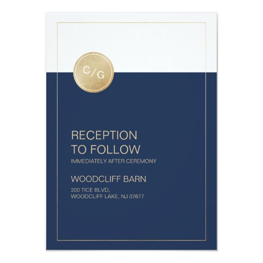 Navy blue minimalist modern wedding reception card