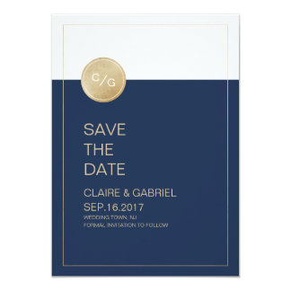 Navy blue minimalist modern wedding save the date card