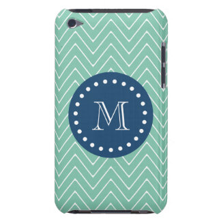 Navy Blue, Mint Green Chevron Pattern | Your Monog iPod Touch Cover