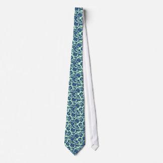 Navy Blue & Mint-Green Floral Damasks Pattern Tie