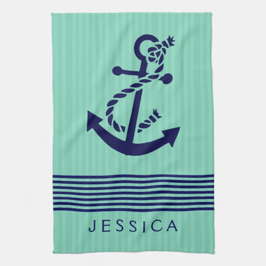Navy Blue & Mint Stripes & Nautical Boat