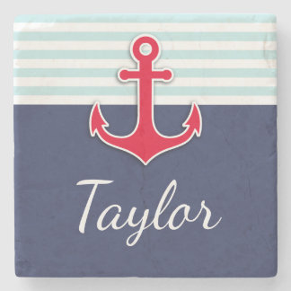 Navy Blue Mint Stripes Red Anchor Personalized Stone Coaster