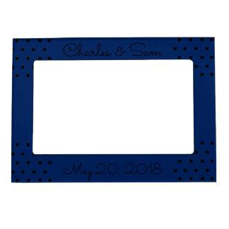 Navy blue modern black squares picture frame magnetic frame
