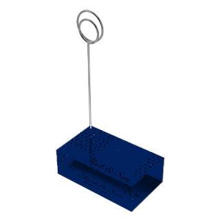 Navy blue modern black squares table card holder