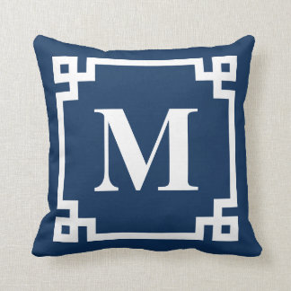 Navy Blue Modern Greek Key Border Monogram Cushion