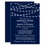 Navy Blue Modern String Lights Rehearsal Dinner 13 Cm X 18 Cm Invitation Card