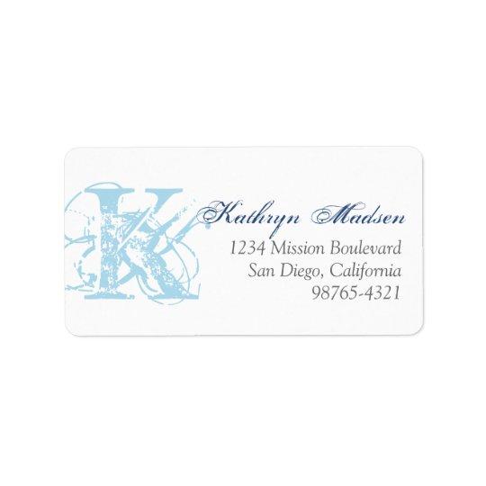 Navy blue monogram distress grunge return address label