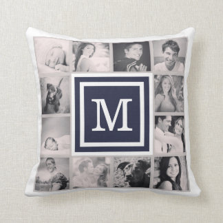 Navy Blue Monogram Instagram Photo Collage Cushion