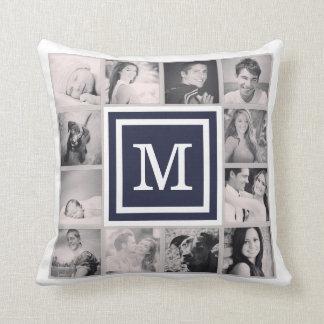 Navy Blue Monogram Instagram Photo Collage Throw Pillow