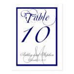 Navy Blue Monogram Wedding Table Number Card 2 Postcard