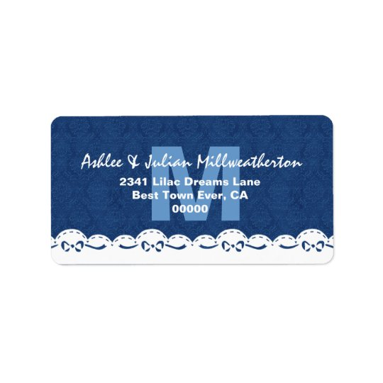Navy Blue Monogram White Lace Wedding M482F Address Label