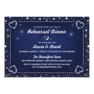 Navy Blue Moon Stars Gold & White Rehearsal Dinner 13 Cm X 18 Cm Invitation Card