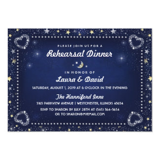 Navy Blue Moon Stars Gold & White Rehearsal Dinner Card