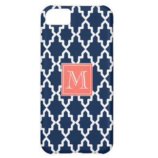 Navy Blue Moroccan Coral Monogram Case For iPhone 5C