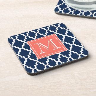 Navy Blue Moroccan Coral Monogram Coaster