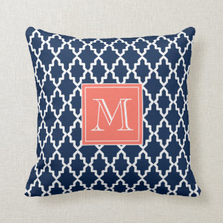 Navy Blue Moroccan Coral Monogram Pillow