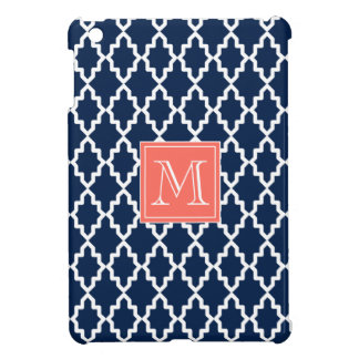 Navy Blue Moroccan Coral Monogram iPad Mini Cover