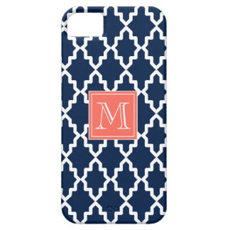 Navy Blue Moroccan Coral Monogram iPhone 5 Cases