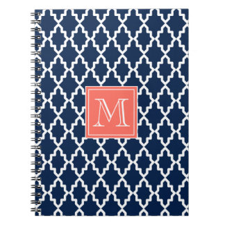 Navy Blue Moroccan Coral Monogram Spiral Note Book