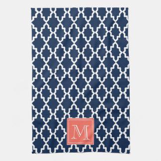 Navy Blue Moroccan Coral Monogram Tea Towel
