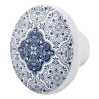 Navy-Blue Moroccan Floral Mandala Pattern Ceramic Knob