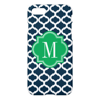 Navy Blue Moroccan Pattern with Green Monogram iPhone 8/7 Case