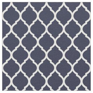 Navy Blue Moroccan Quatrefoil Fabric