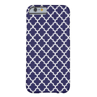 Navy Blue Moroccan Quatrefoil Pattern Barely There iPhone 6 Case