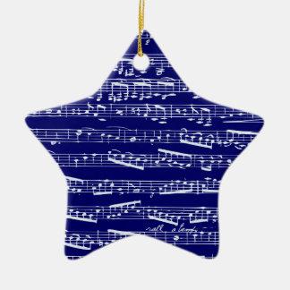 Navy blue music notes ceramic star decoration