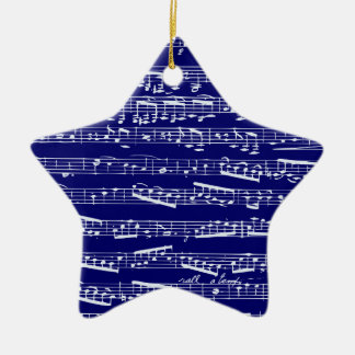 Navy blue music notes ornament