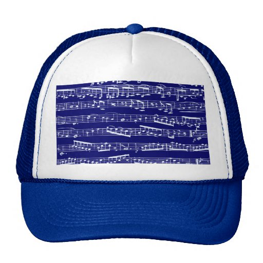 Navy blue music notes hat
