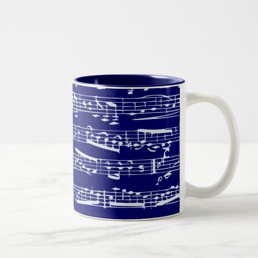 Navy blue music notes mug