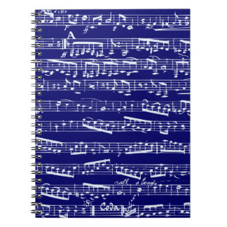 Navy blue music notes notebooks