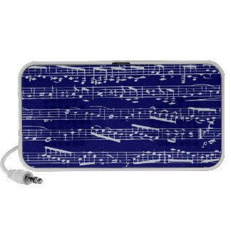 Navy blue music notes mp3 speakers