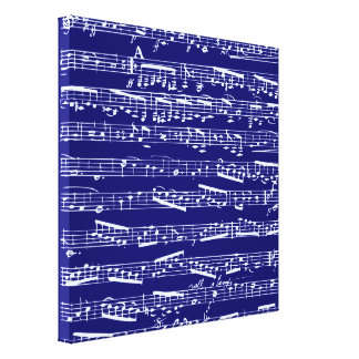 Navy blue music notes stretched canvas prints