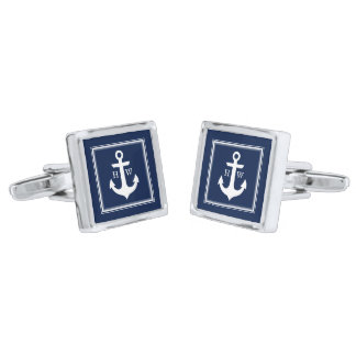 Navy Blue Nautical Anchor and Framed Monogram Silver Finish Cuff Links
