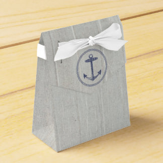 Navy Blue Nautical Anchor and Weathered Wood Favour Box