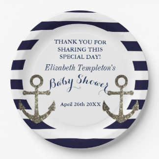 Navy Blue Nautical Anchor Baby Shower 9 Inch Paper Plate