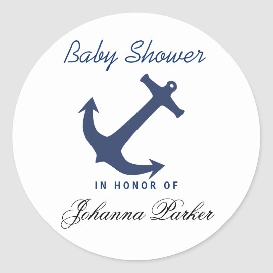 Navy Blue Nautical Anchor Baby Shower Classic Round