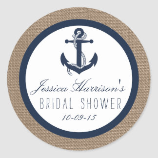 Navy Blue Nautical Anchor Bridal Shower Stickers