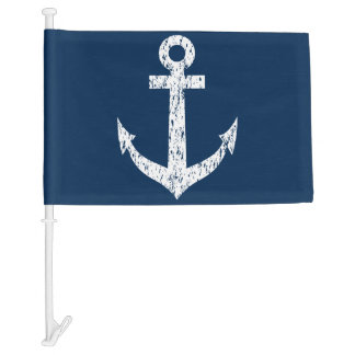 Navy blue nautical anchor car window flag car flag