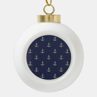 Navy blue nautical anchor ceramic ball decoration