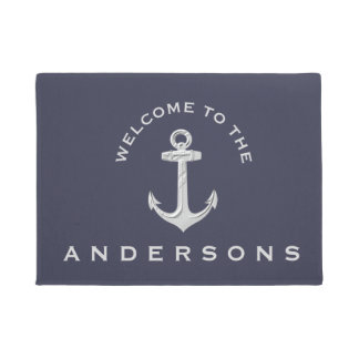 Navy Blue Nautical Anchor Custom Welcome Doormat